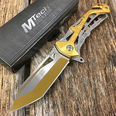 Spring-Assist Folding MTECH Pocket Knife Mtech GOLD Tactical  Slim Rescue Tanto
