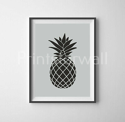 Pineapple Print Picture Poster Tropical Minimalist Grey Home Wall Decor Art