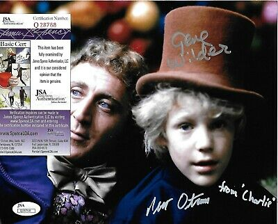 Signed Gene Wilder and Peter Ostrum autographed Willy Wonka color 8x10 COA JSA