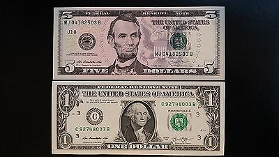 UNITED STATES $5 & $1 Dollar 2013 Rios/Lew USA US 2 UNC Banknote Set
