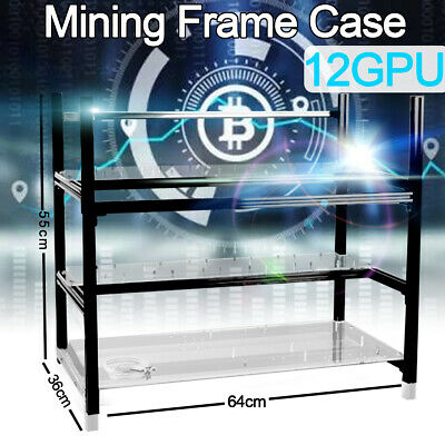 12 GPU Mining Rig Frame Miner Case Open Air Stackable Crypto Coin  ETC BTH Libra