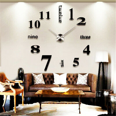 Simple 3D DIY Wall Clock Roman Numeral Mirror Sticker Home Living Room Art Décor