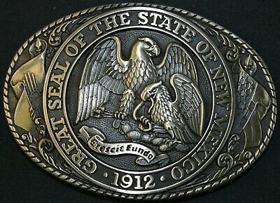 New Vintage Tony Lama State Series Collection Belt Buckle New Mexico, Md. Patina