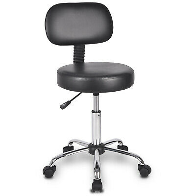 Rolling Chair Drafting Swivel Stool With Wheels&backrest Height Adjustable Black