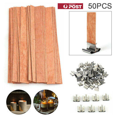 50x Wooden Candle Wicks Pedestal DIY Paraffin Soy wax Handmade Crafts for Party