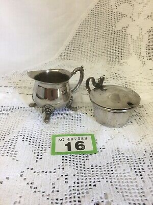 Antique Silver Plated Elegant Mustard Pot with Spoon and an Ornate Cream Jug