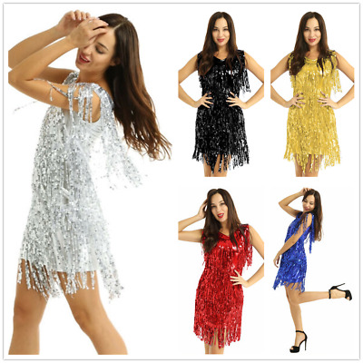 Women Sequins Ballroom Latin Jazz Tango Salsa Dance Dress Fringe Tassels Skirts