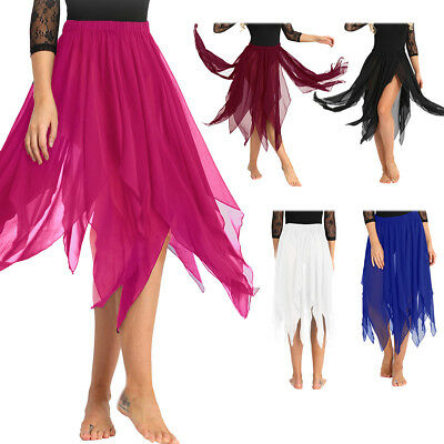 Side Split Belly Dance Chiffon Maxi Skirt Dress Costume with Belt Waist Chain UK