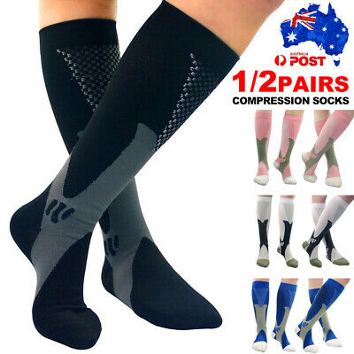 1/2 Pairs Compression Socks Medical Travel Flight Running Varicose Stockings AU