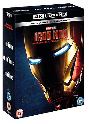 Iron Man 1-3 4K UHD Box Set (Includes Blu Rays) / WORLDWIDE SHIPPING