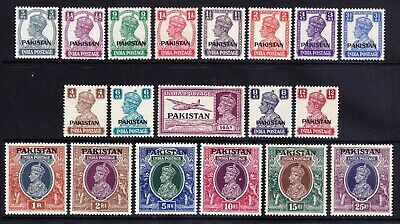 PAKISTAN GVI 1947 SG1/19 set of 19 stamps of India opt very lightly m/m cat £200