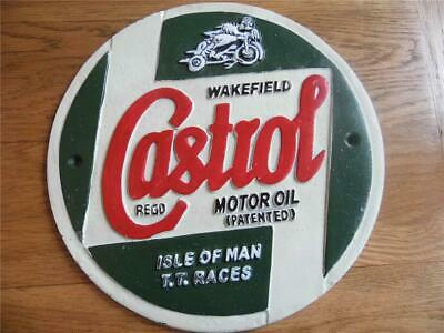 Large Heavy Cast Iron Wall Plaque Advertising Sign Castrol Motor Oil T.t. Races