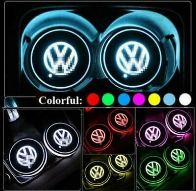 2× VW LED Car Cup Holder Pad Mat Auto Atmosphere Light Colorful For Volkswagen