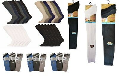 12 Pairs Men's 100% Cotton Long Hose Luxury Ribbed Socks Black & Colours UK 6-11