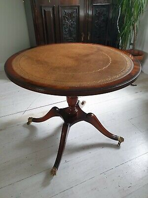 Circular Mahogany Leather Top Coffee Table - Excellent Condition