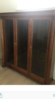 Pair of Antique Oak Rolling Bookcases with glass front