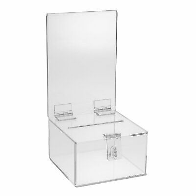 Source One Premium Clear Acrylic Display Donation Box Ballot Box Ticket Box