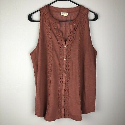 Anthropologie Knotted Scoop Neck Tank Top NWT new size L moss color