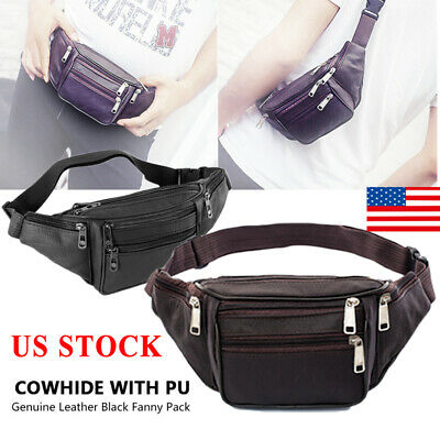 2019 Genuine Leather Fanny Pack Waist Bag Hip Belt Pouch Casual Purse Unisex US