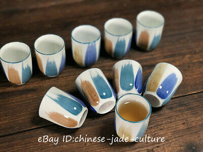 5 Pairs Old Marks Antique Chinese Glaze Color Porcelain Handmade Wine Tea Cup