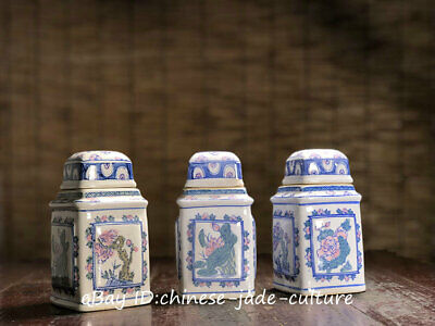3 PCS 1960s Old Collect Chinese Blue White Porcelain Flower Tank Toothpick Box
