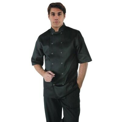 Whites Vegas Unisex Chef Jacket Short Sleeve Black - M [A439-M]