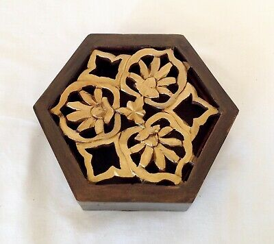 Vintage Indian Carved Wooden Trinket Jewellery Box Handpainted Gold Wood Box