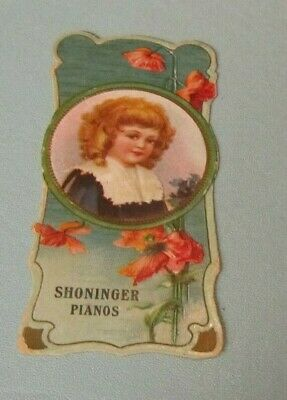 Shoninger Pianos Die Cut Victorian Trade Card Bookmark New Haven CT New York