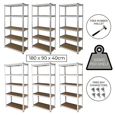 3 Garage Shelves 5 Tier Racking Boltless Heavy Duty Storage FREE Bay Connectors