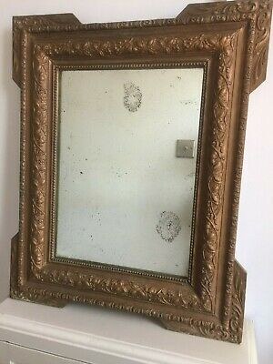 19C Antique French Gold Mirror Original Distressed Foxed Patina Glass 67cm m258