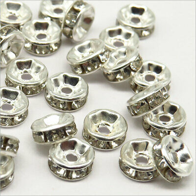 Lot de 50 Perles Strass Rondelles Intercalaires 6x3mm Argenté