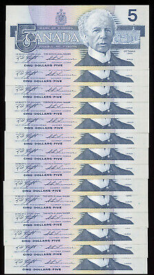 Lot of 14 Consecutive 1986 Bank of Canada $5 - BC-56d.