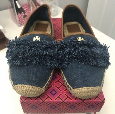 34320cb23 NEW TORY BURCH Shaw Denim Fringe Logo Espadrilles shoes flats Size ...