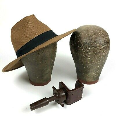 Lot of 2 Mannequin Hatmaker Wig Canvas Pinnable Display Vintage Head Millenary