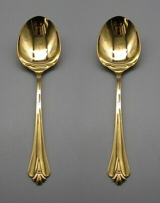 SET OF TWO - Oneida Gold Electroplate GOLDEN ROYAL FLUTE Casserole Spoons
