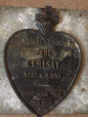 Rare French Metal Grave Marker. Cemetery Marker. Morbid  Died 2 Years Old