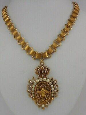Askew London Crown Top Oval And Bee Pendant Necklace