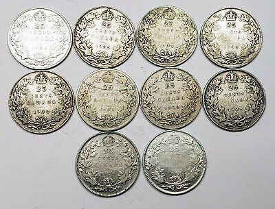 Canada 1927 to 1936 Silver 25 Twenty Five Cents 10 Coin Lot Collection