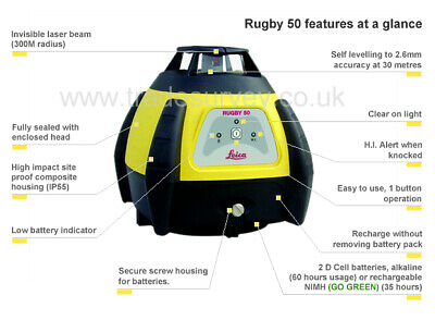 Leica Rugby 50 Laser Level Package with receiver eye, tripod and staff calibrate