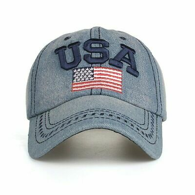 USA American Flag Baseball Cap Outdoor Sports Sun Hat Denim Cap Trendy Gif#YW