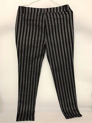 New Look Slim Leg Trousers Size 10 BNWT £19.99 Stripe Black Grey Smart Fitted