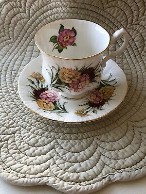 Fancy Paragon England Bone China Red Yellow Pink Flowers Tea Cup & Saucer Duo