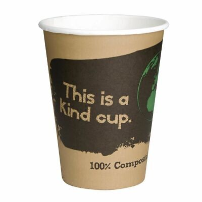 Fiesta Green Compostable Hot Cups Single Wall 340ml / 12oz x 50 (Set of 50) [DS0