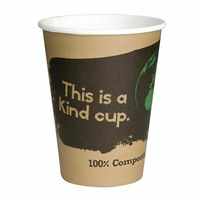Fiesta Green Compostable Hot Cups Single Wall 225ml / 8oz x 50 (Set of 50) [DS05