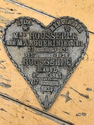 Rare French Metal Grave Marker. Cemetery Marker. Morbid  Dated 1926 & 1927