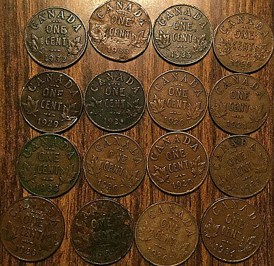 Lot Of 16 Canada Small Cents Lot Of 16 Coins