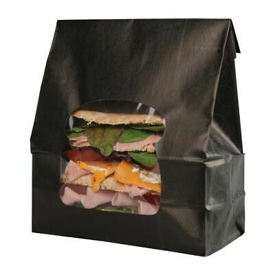 Colpac Recyclable Paper Sandwich Bags With Window Black (Set of 250) [FA381]