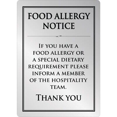 Brushed Steel Food allergy sign A4 [GM816]