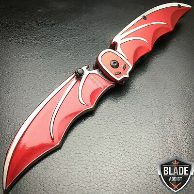 """8"""" SPRING ASSISTED OPEN BATMAN DARK KNIGHT RED FOLDING TACTICAL KNIFE Pocket F"""