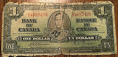 Bank Of Canada 1 Dollar 1937 1$ Bill Paper Money